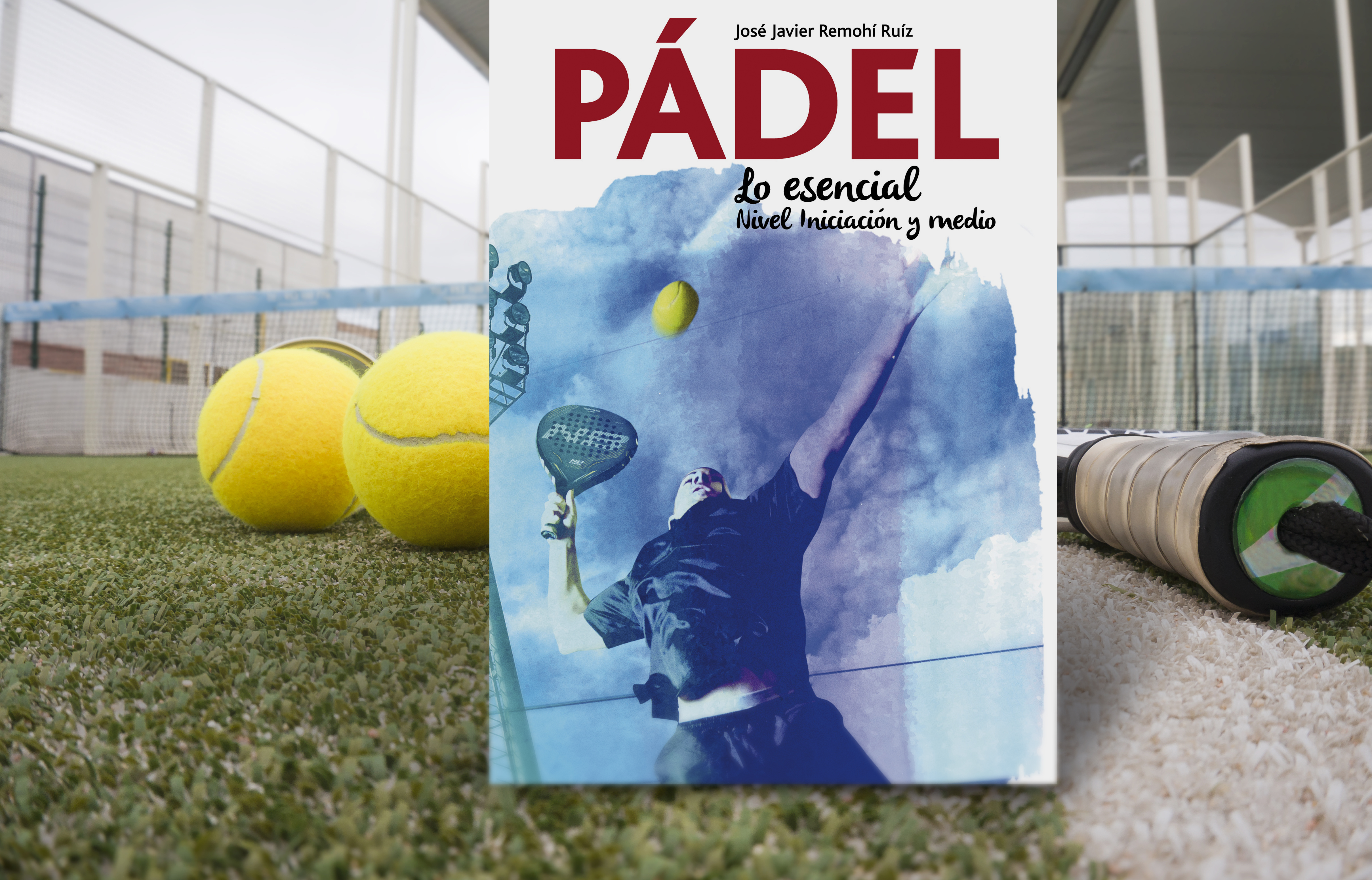 Paddle tennis objects in court, balls and racket